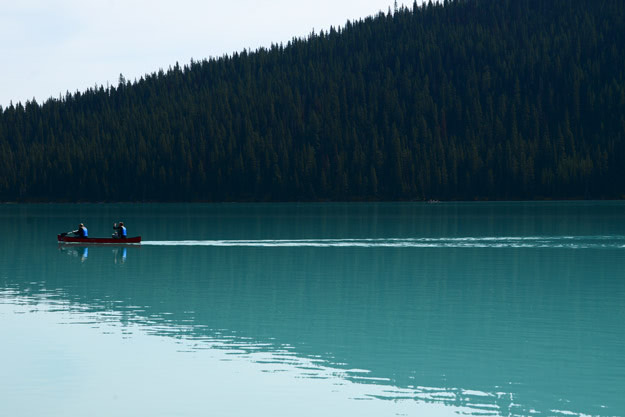 Canoeing the blue hues of Lake Louise