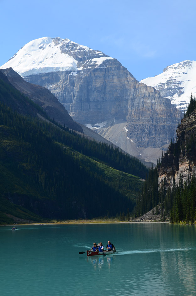 Dipping a paddle at Lake Louise