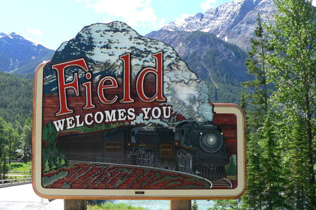 The sign greeting visitors to the village of Field, British Columbia
