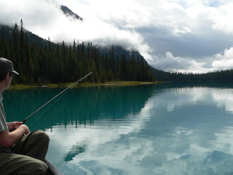 Trout fishing on Emerald Lake